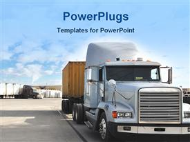 PowerPoint template displaying freight truck carrying goods in the background.