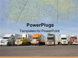 PowerPoint template displaying group of large trucks in a row ** Note: Slight blurriness in the background.