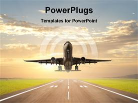 PowerPoint template displaying landing airplane showing transportation in the background.