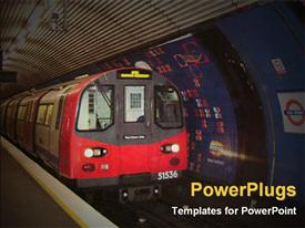 PowerPoint template displaying metro train at a station