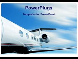 PowerPoint template displaying motion blur behind charter jet airplane in flight in the background.