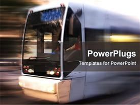 PowerPoint template displaying a large bus speeding on the road over a blurry background