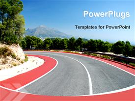 PowerPoint template displaying mountain road in the Span in the background.