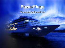 PowerPoint template displaying cruise ship ocean liner on ocean sea after sunset