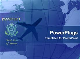 PowerPoint template displaying american passport with shadow of airplane in blue background