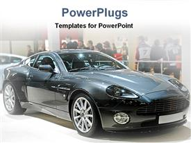 PowerPoint template displaying black sleek sports car in a show room with people watching