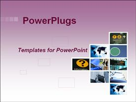 PowerPoint template displaying depictions of airport, world map, buildings, and cars on purple and white background