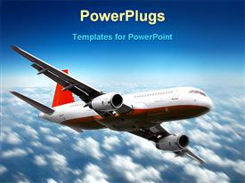 Plane flying away in sky powerpoint theme