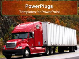 PowerPoint template displaying red semi-truck and trailer on a north Carolina highway in the background.