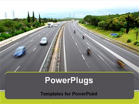 PowerPoint template displaying road with some cars who drive quickly in the background.
