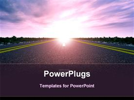 PowerPoint template displaying road and sunset. Widely coal kind on asphalt road and the bright sun in the background.