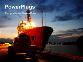 PowerPoint template displaying ship after sunset in the background.