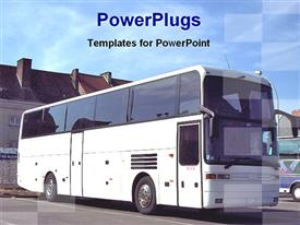 PowerPoint template displaying tourist bus in the background.