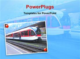 PowerPoint template displaying train come on station in the background.