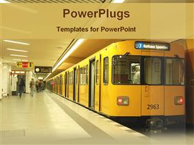 PowerPoint template displaying train in the metro station