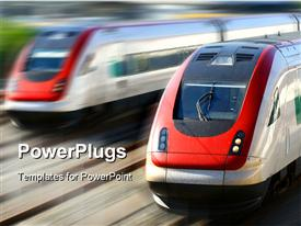 PowerPoint template displaying train series in the background.