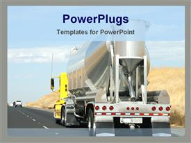 PowerPoint template displaying truck carrying construction equipment in the background.