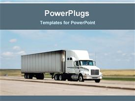 PowerPoint template displaying truck on the road for transport in the background.