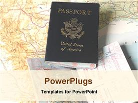 PowerPoint template displaying a depiction of an American passport along with maps