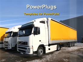 PowerPoint template displaying two trucks in the background.