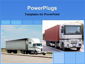 PowerPoint template displaying verity of trucks showing road transportation in the background.