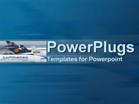 PowerPoint template displaying airport tarmac with wash of jets