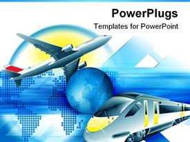 PowerPoint template displaying travel theme with modern train and flying airplane and blue Planet Earth in the center