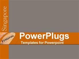 PowerPoint template displaying grey background with orange bars with text 'Singapore'