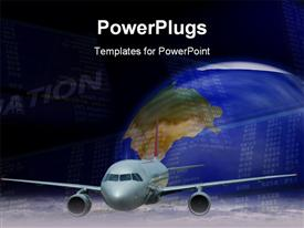 PowerPoint template displaying silver colored airplane flying in front of a blue earth