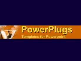 PowerPoint template displaying a plain dark blue background with a yellow strip