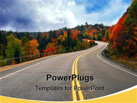 PowerPoint template displaying fall scenic highway in northern Ontario Canada