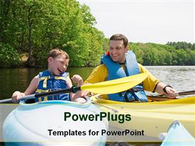 PowerPoint template displaying a dad and a son boating in the lake