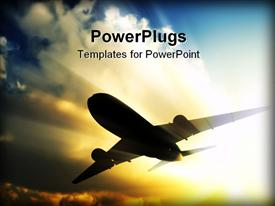 PowerPoint template displaying a close up view of a plane flying over a bright sky