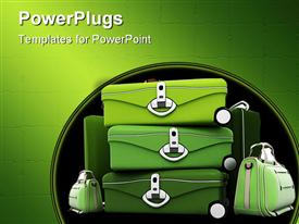 PowerPoint template displaying luggage kit in green shades against a white background