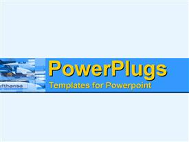 PowerPoint template displaying modern montage in blue of crowded tarmac in the background.
