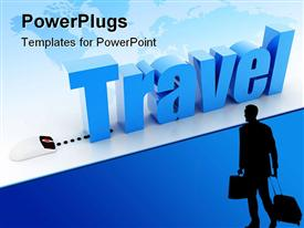PowerPoint template displaying a mouse connected to a word travel