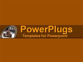 PowerPoint template displaying a plain brown background wih a dark blue strips