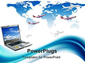 PowerPoint template displaying travel conceptual depiction: internet booking. Laptop planes world map