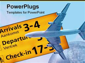 PowerPoint template displaying travel / transportation background with departures and arrivals sign and a part of our globe