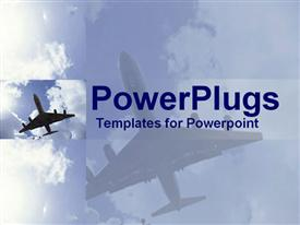 Undercarriage of jet in sky with smaller side view powerpoint design layout