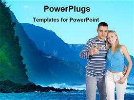PowerPoint template displaying young couple standing in front of sea side in the background.
