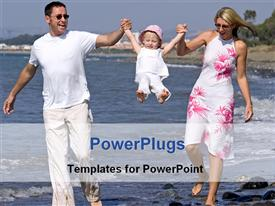 PowerPoint template displaying two adults and a baby walking on a beach