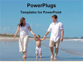 PowerPoint template displaying young family playing with son in beach