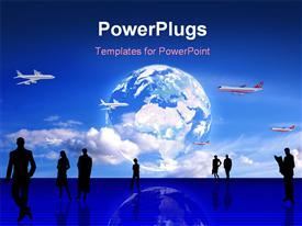 PowerPoint template displaying stylized global Travel conceptual depiction: planes Earth people