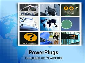 PowerPoint template displaying a bluish background with a number of pictures in squares