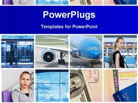 PowerPoint template displaying collage with travel and air transport concept