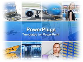 PowerPoint template displaying six tiles with airplanes, laptop, and two young girls