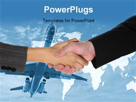 PowerPoint template displaying two business people shaking hands with a airplane and world map background
