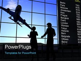 PowerPoint template displaying silhouette of people with airplane in sky and departure information