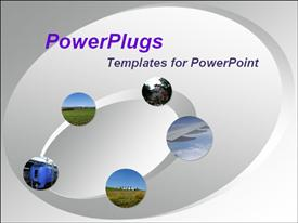 PowerPoint template displaying 5 travel depictions on the animated grey oval